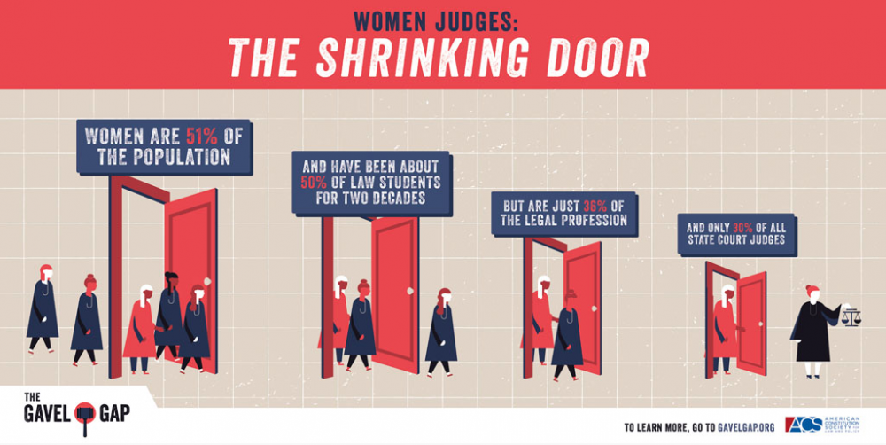 "Info Graphic from the Gavel Gap showing ""the shrinking door"" for women in the justice system."